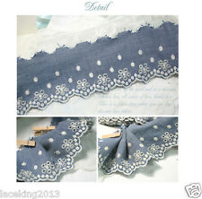 "Broderie Anglaise Eyelet Denim Blue lace trim 2.7""(7cm) YH1383 laceking2013"
