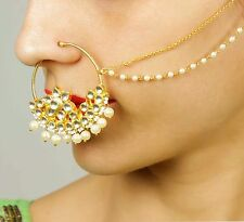 22K Gold plated Nose Ring with Long Chain Indian Bridal Wedding Nose Jewelry Set