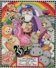 "Cross Stitching Kit Needlepoint NOAH's ARC Biblical for Kid's Room 12.5""x10"" NEW"