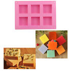 6 Square Cavity Cake Chocolate Jelly Ice Cube Soap Silicone Mould Mold DIY
