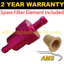 "RED 3/8"" & SPARE ELEMENT METAL UNIVERSAL IN LINE FUEL FILTER ANODISED ALUMINIUM"