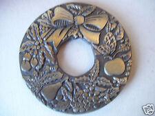 Della Robbia Trivet Christmas Wreath w/ fruit Antique Look Original Silverplate