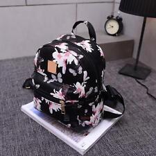 Women Floral Backpack Travel Leather Handbag Rucksack Shoulder School Bag Black