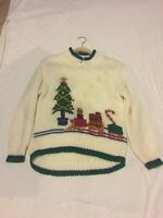 Evian II Women's Size Medium Hand Knit Christmas Tree Train Sweater