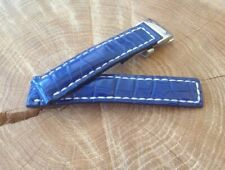 Breitling Watch Strap 22mm HANDMADE Alligator Blue + Deployment clasp