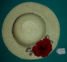 """11"""" Light Yellow Woven Hat with Floral Ribbon & Red Carnation for Child FSGHGM07"""