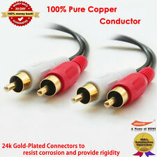 Gold Plated PREMIUM 25-Feet Audio Stereo Cable 22AWG 2 RCA M/M Plug Cable 25FT