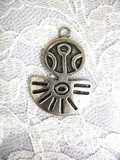 PUERTO RICAN CARIBBEAN AMULET TAINO CAST PEWTER METAL PENDANT ADJ CORD NECKLACE