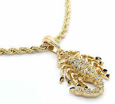 "Mens 14k Gold Plated Scorpion King Cz Pendant M3 Hip-Hop 24"" Rope Chain"