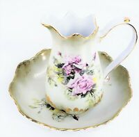 R S PRUSSIA ROSE & HYDRANGEA ANTIQUE PORCELAIN PITCHER & BASIN/BOWL SET