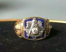 10K Gold Masonic Grand Master Compass Ring Mason Diamond  Sz 11.5
