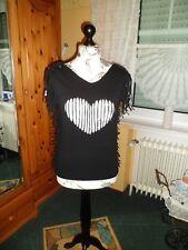 Shirt Schwarz mit Herz Gecuttet für Privat und Zumba Gr. 36/38