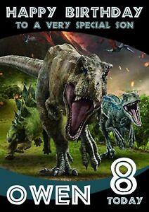 Personalised Birthday Card Jurassic World Dinosaur any name/relation/age