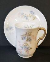 GDA Limoges France Porcelain Chocolate Cup And Saucer Demitasse Blue Flowers