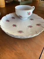 Japan - Tea Cup and Snack Tray - Floral Rose  Pattern - Gold Trim - Set of 3