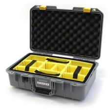 Silver and Yellow Pelican 1485 Air case with padded dividers.
