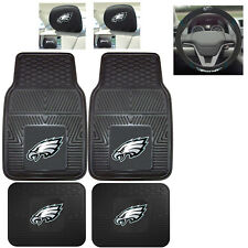 7pc NFL Philadelphia Eagles Heavy Duty Rubber Floor Mats & Steering Wheel Cover