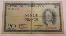 Luxembourg 1955 20 Francs Bank Note P0120 Grand Duché