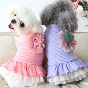 Striped Flower Dog Clothes Winter Warm Dress Coat Cat Clothing For Dog Puppy