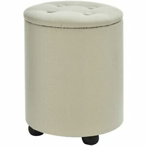 Storage Ottoman Seat Footstool Stool Linen Elegant Chair Round White New UK