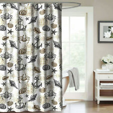 Shower Curtain Nautical Coastal Anchor Shell Gray And Taupe Fabric Bathroom