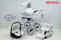 ISABELL Pram Baby Fashion 3in1 CARRYCOT+STROLLER+CAR SEAT+ FREE RAINCOVER