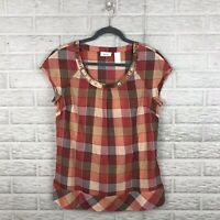 Liz & Co Womens Blouse Size Medium Plaid Red Embellished Neckline Short Sleeve