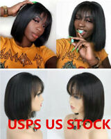 Glueless 8'' Short Straight Lace Front Human Hair Wig with Bang Bob For Woman US