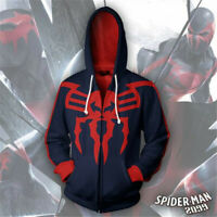 Marvel Age Superhero Spiderman 2099 Hoodie Sweatshirt Jacket Hooded Coat Cosplay