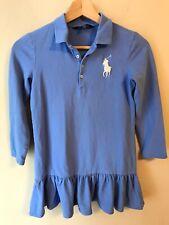 Ralph Lauren Girls SZ Med 8-10 Long Sleeve Polo Dress Blue Ruffle BIG PONY LOGO