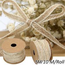 1 Roll Natural Jute Burlap Ribbon Lace Trims Tape Vintage Wedding Decor DIY 10M