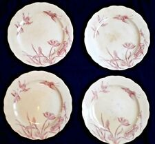 WILLIAM BROWNFIELD & SONS 4 ASSIETTES PLATES IVOIRE/ROSE DECOR LOTUS OISEAUX 19è