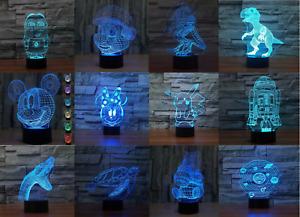 3D LED Tischlampe Tischleuchte Leselampe Nachtlicht 7 Farbe Pikachu Minion Mario