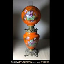 Antique Large GWTW Lamp Violets Floral Kerosene Oil Ball Shade halloween orange