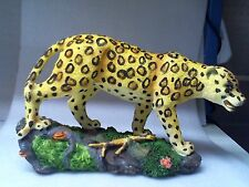 "Leopard Figurine Hard Plastic Wild Display Animal by Stico Importing 14""x 9""x 5"""