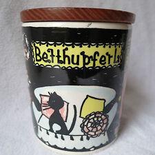 Schramberg schöne alte Betthupferl Dose Keramik Deckeldose mit Holzdeckel Rar