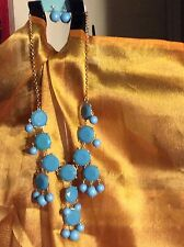 Statement Necklace Gold Plated Blue Faceted and Round Beads by Ella w/Earrings