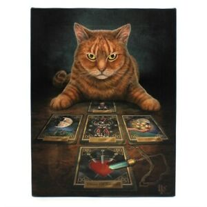 THE READER LISA PARKER SMALL CANVAS PICTURE ART PRINT GOTH GINGER CAT TAROT CARD