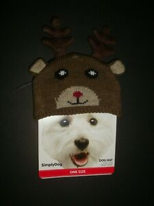 """New Simply Dog Knit Winter Holiday Dog Hat Cap Reindeer Antlers Brown O/S 11-13"""""""