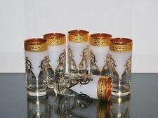 6 Wassergläser, 280-300 ml., Bohemia Kristallglas, Dekor 3D, Handbemalt in Gold