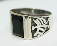 Classy Men's 6 CT Faceted Natural Rectangular Onyx 925 Silver Eagle Ring Sz 12