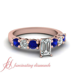 3/4 Carat Emerald Cut Diamond And Round Sapphire Engagement Rings In Rose Gold