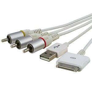 US AV Composite Video to TV-RCA Cable USB for Apple iPad 1 iPad 2 iPhone iPod