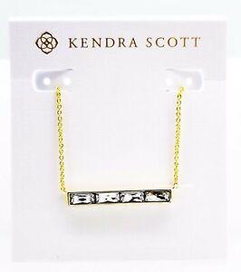 NEW 100% KENDRA SCOTT Gold 160 Jack White Crystal Bar Pendant Necklace