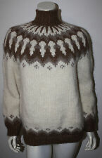 VINTAGE Iceland Scotland Ivory Brown Funnel Neck Wool Hand Knit LS Sweater S M L