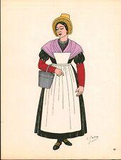 Gravure d'Emile Gallois costume des provinces françaises 1950  Flandre