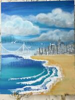 Original Acrylic Painting 8 x10 Canvas Panel, Island   Beach Coastal  Ocean  Art