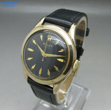 RARE ROLEX PERPETUAL BLACK HONEYCOMB DIAL CAL.1030 9K GOLD AUTOMATIC 35mm c1963