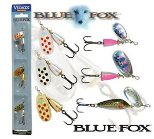 BLUE FOX VIBRAX Spinners Kit EXPERT SET OF 3 Perch Trout Salmon Fishing Tackle