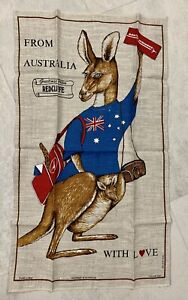 From Australia w Love QUANTAS AIRWAYS Pure Linen Tea towel. 32 x 18.5 in.  *New